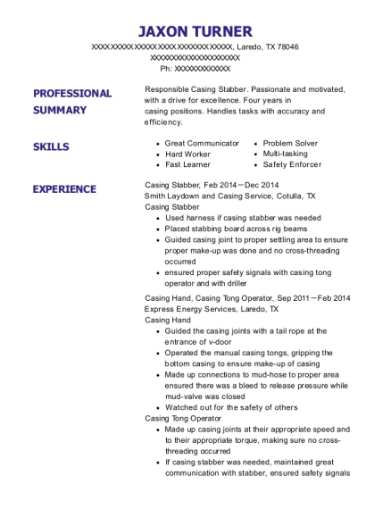 Casing Stabber resume example Texas