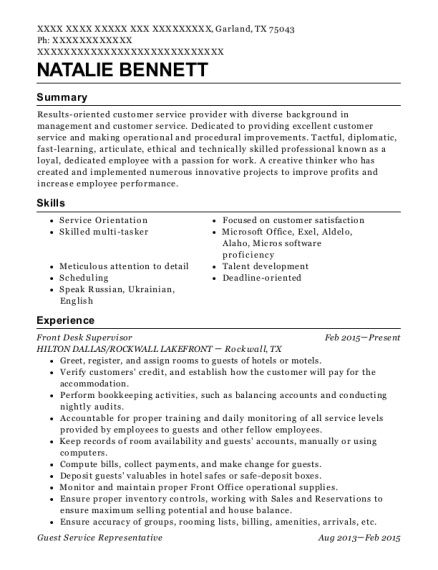 Front Desk Supervisor resume example Texas