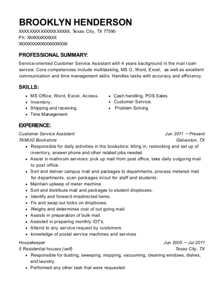 Customer Service Assistant resume format Texas