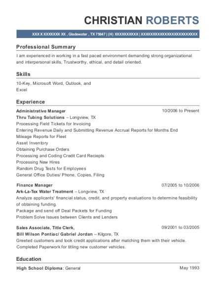 Administrative Manager resume template Texas