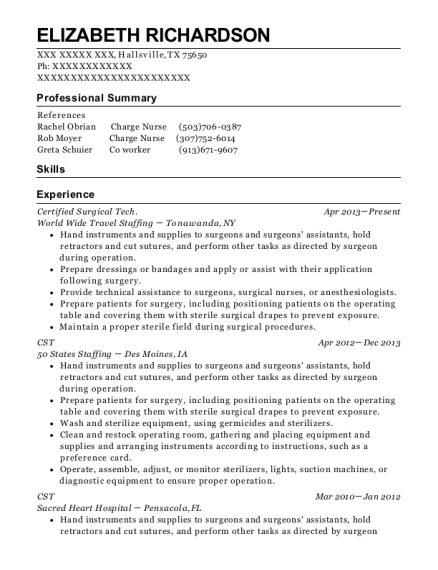 Certified Surgical Tech resume example Texas
