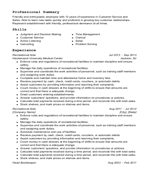 Recreational Aide resume format Texas