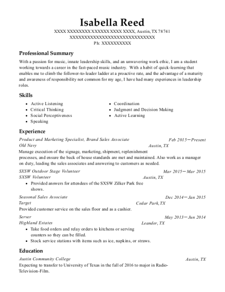 Product and Marketing Specialist resume format Texas
