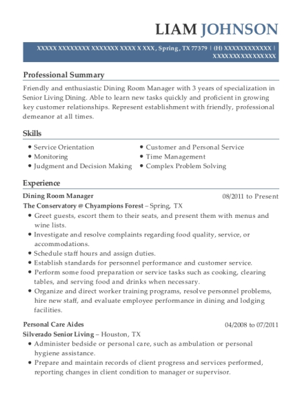 Dining Room Manager resume example Texas