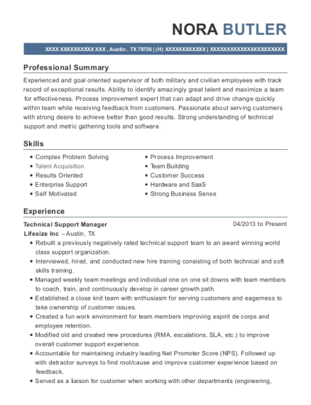 Technical Support Manager resume sample Texas