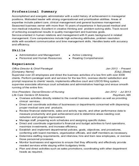 Office Director & Chief Paralegal resume sample Texas
