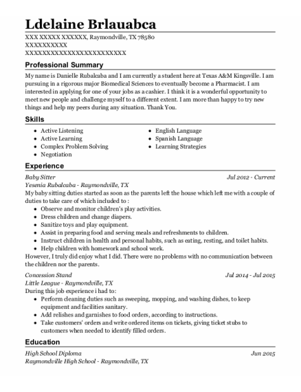 Baby Sitter resume template Texas