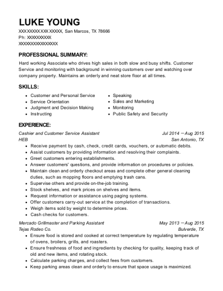 Cashier and Customer Service Assistant resume example Texas