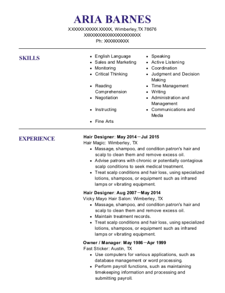 Hair Designer resume example Texas