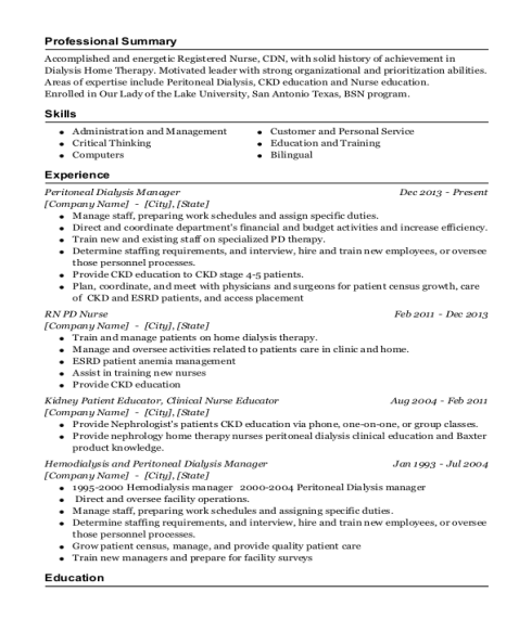 Peritoneal Dialysis Manager resume sample Texas