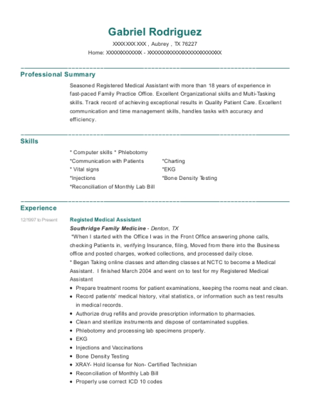 Registed Medical Assistant resume format Texas