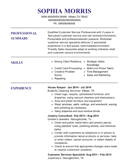 House Keeper resume example Texas