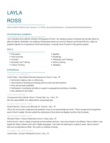 Youth Pastor resume sample Texas