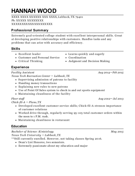 Facility Assistant resume example Texas