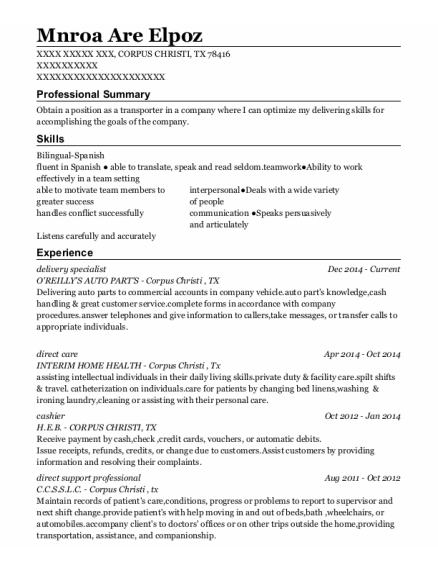 delivery specialist resume format Texas