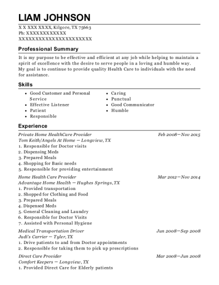 Private Home HealthCare Provider resume format Texas