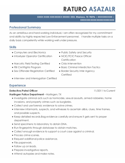 Detective resume template Texas