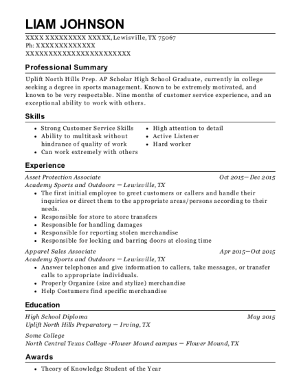 Asset Protection Associate resume example Texas