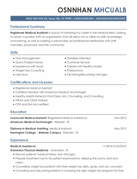 Medical Assistance resume format Texas