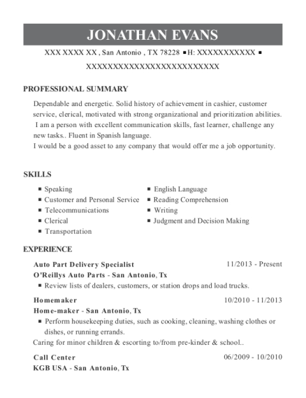 Auto Part Delivery Specialist resume sample Texas
