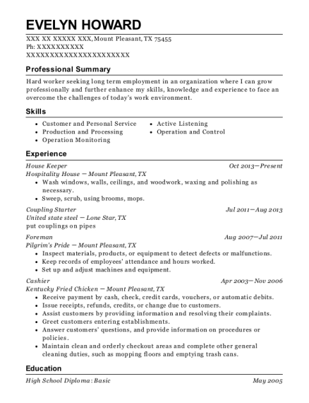 House Keeper resume format Texas