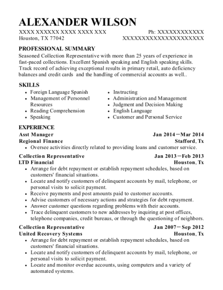 Asst Manager resume example Texas