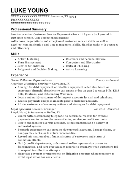 Senior Collection Representative resume template Texas