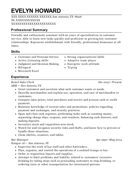 Retail Sales Clerk resume sample Texas