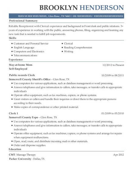 Stay at home Mom resume sample Texas