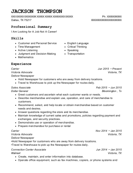 Carrier resume example Texas