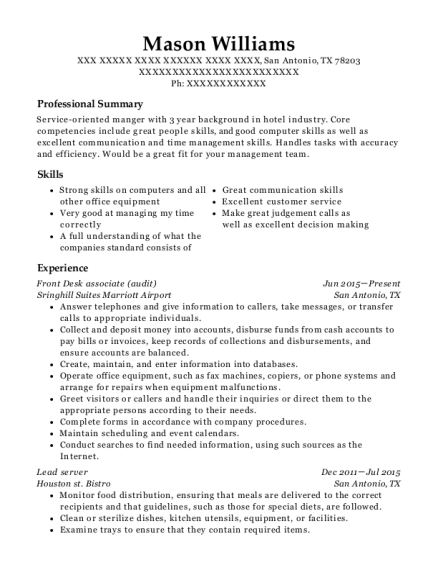 Front Desk associate resume example Texas