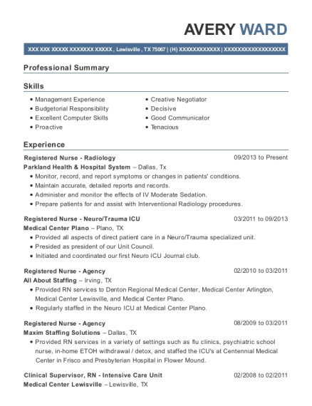Registered Nurse Radiology resume template Texas