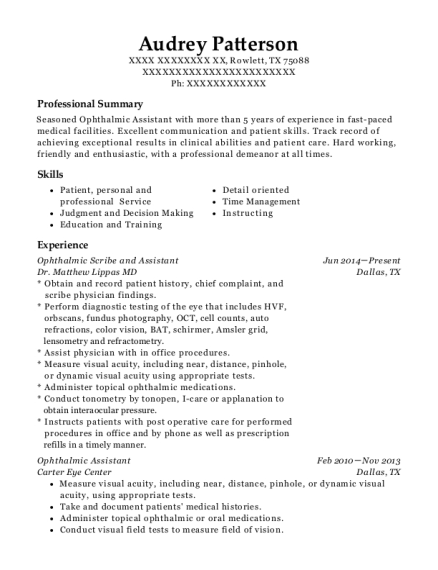 Ophthalmic Scribe and Assistant resume sample Texas