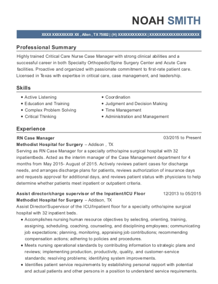 RN Case Manager resume example Texas
