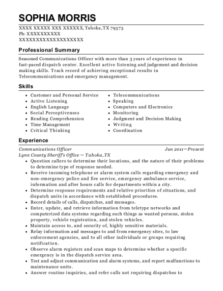 Communications Officer resume example Texas