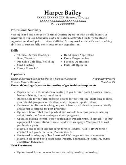 Thermal Barrier Coating Operator resume format Texas