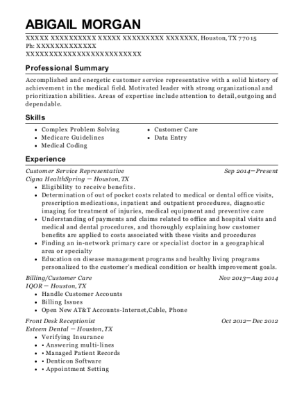 Customer Service Representative resume example Texas