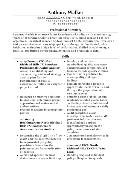Associate Professional Quality Auditor resume format Texas