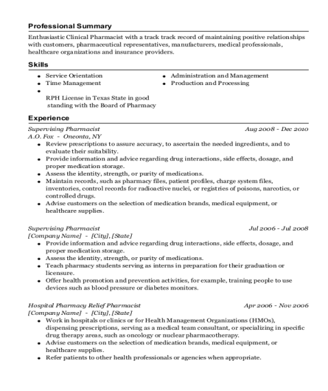 Supervising Pharmacist resume sample Texas