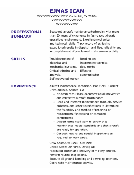 Aircraft Maintenance Technician resume template Texas
