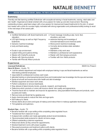 Licensed Esthetician resume format Texas