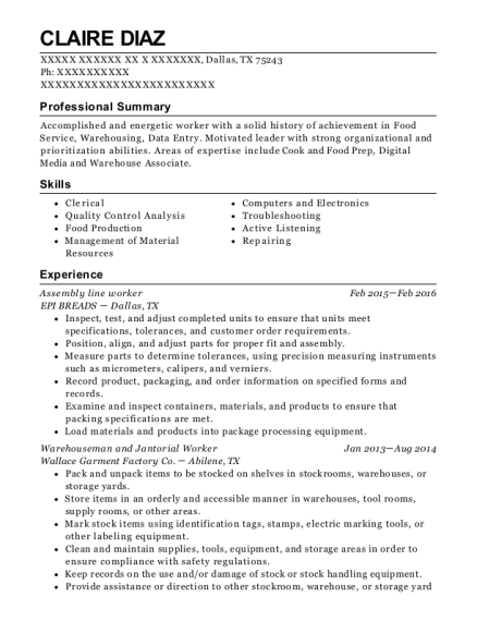 Assembly Line Worker resume example Texas