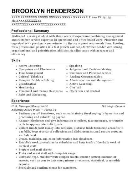 H R Manager resume format Texas