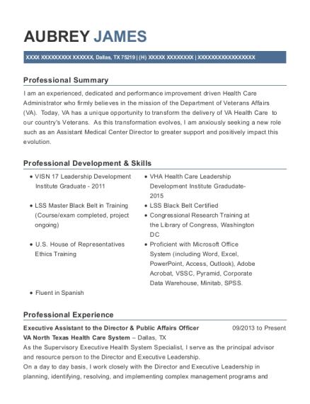 Executive Assistant to the Director & Public Affairs Officer resume example Texas