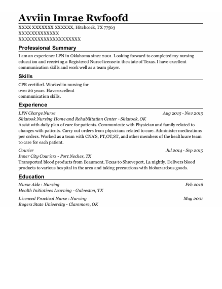 LPN Charge Nurse resume example Texas