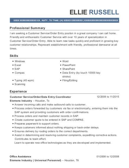 Customer Service resume example Texas