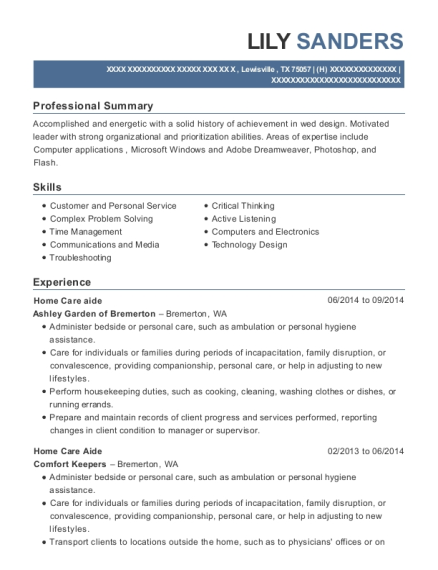 Home Care Aide resume sample Texas