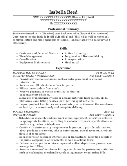 COUNTER SALES resume template Texas