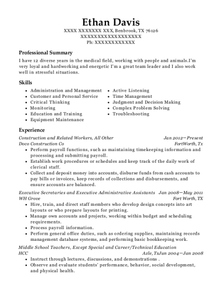 Construction and Related Workers resume template Texas