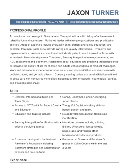 Occupational Therapist resume template Texas